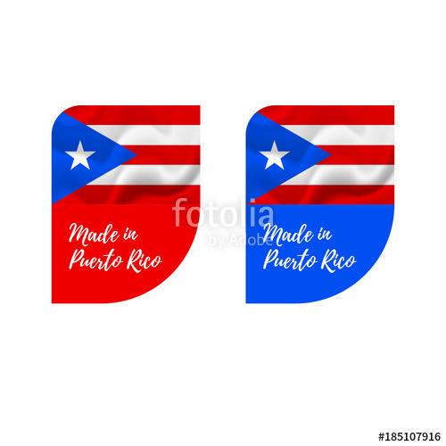 500x500 Stickers Made In Puerto Rico. Vector Illustration. Stock Image