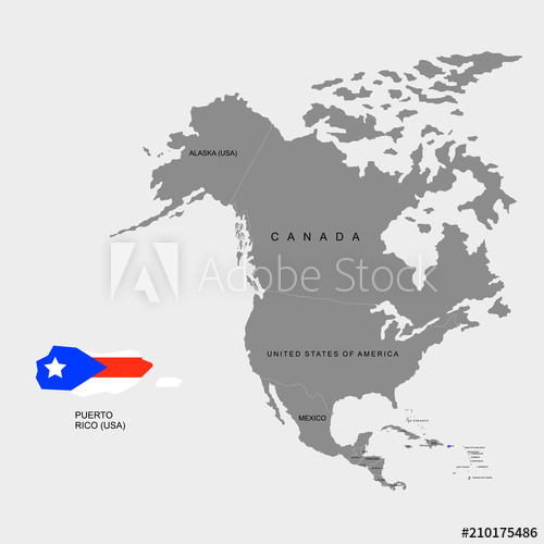 500x500 Territory Of Puerto Rico On North America Continent. Flag Of