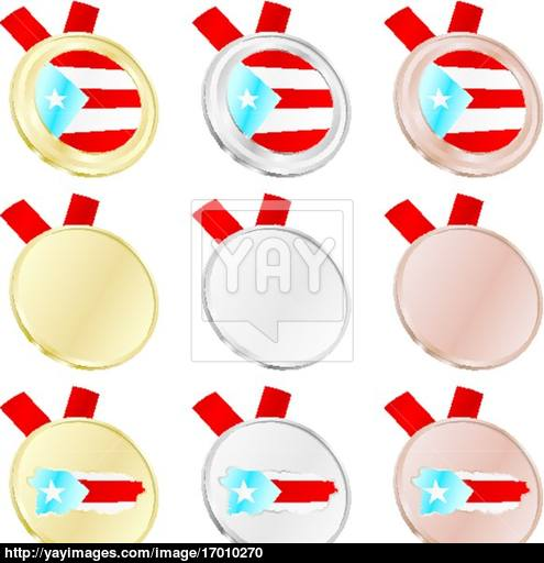 495x512 Puerto Rico Vector Flag In Medal Shapes Vector