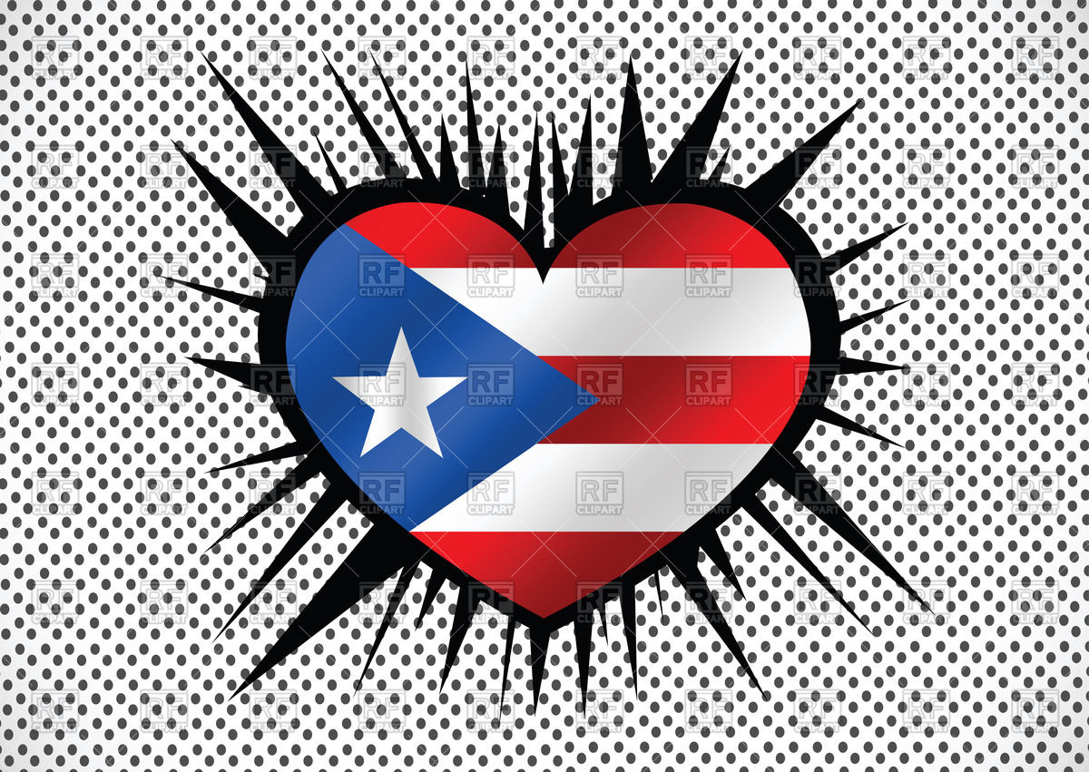 1200x851 Heart Shaped Flag Of Puerto Rico Vector Image Vector Artwork Of