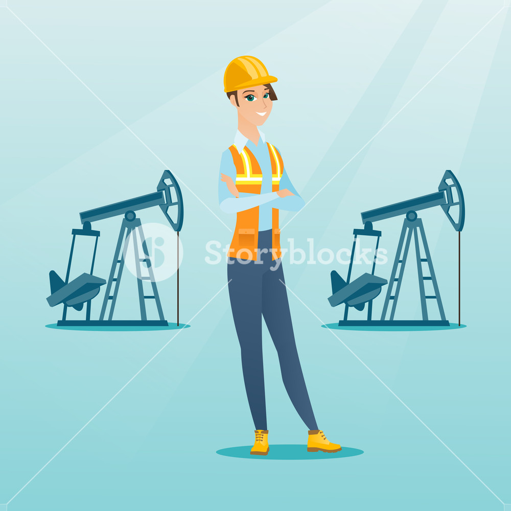 1000x1000 Caucasian Oil Worker In Uniform And Helmet. Cnfident Oil Worker