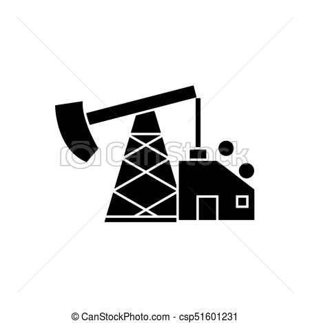 450x470 Oil Pump Jack Icon, Vector Illustration, Black Sign On Isolated