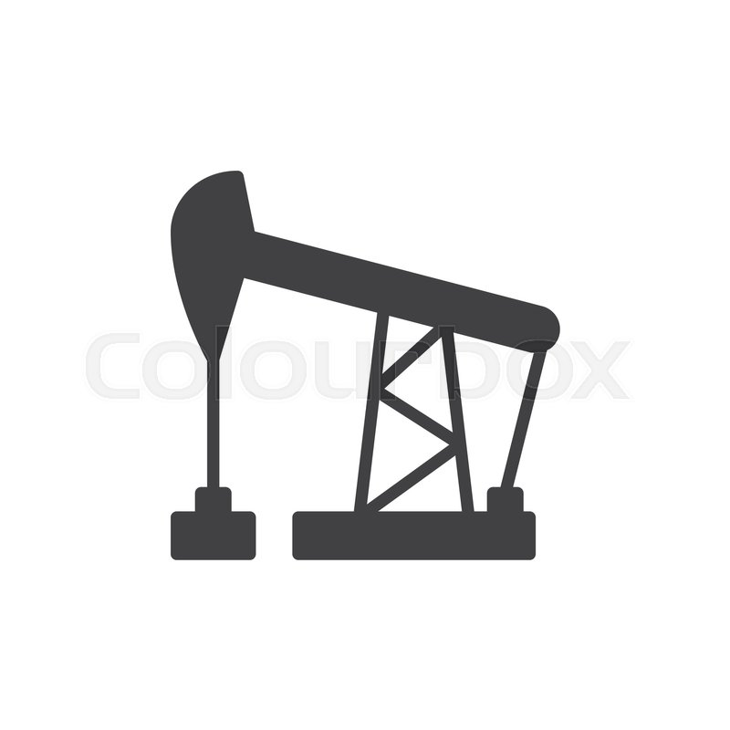800x800 Oil Pump Jack Icon Vector, Filled Flat Sign, Solid Pictogram