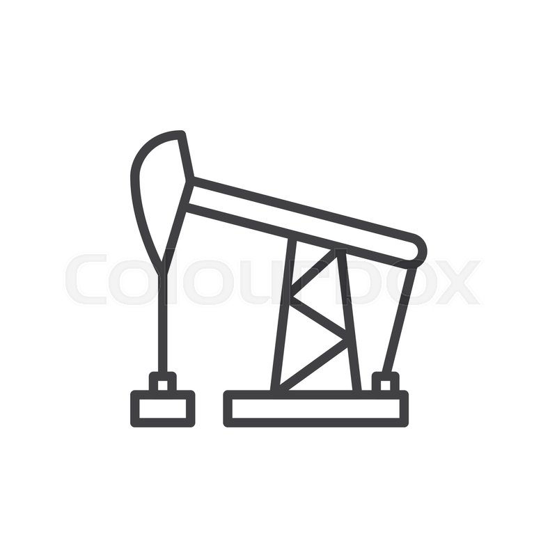 800x800 Oil Pump Jack Line Icon, Outline Vector Sign, Linear Style