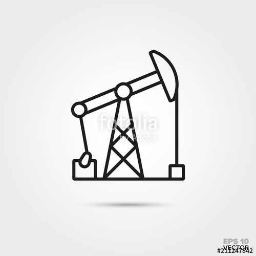 500x500 Pumpjack Vector Line Icon. Fossil Fuel And Energy Industry Symbol