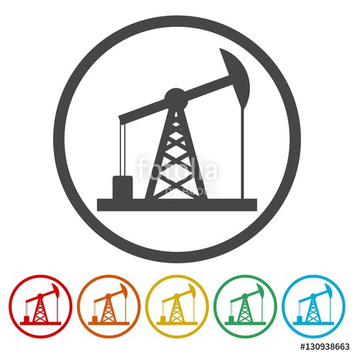 500x500 Oil Rig Icon, Oil Pump Jack Icons Set Stock Image And Royalty