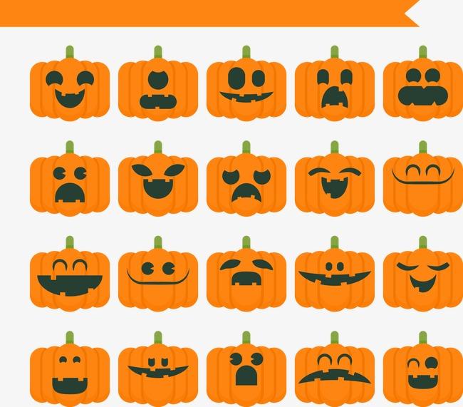 650x571 Flat Halloween Horror Pumpkin Face Pack, Face Clipart, Flat