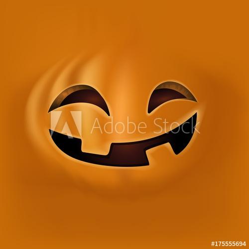 500x500 Halloween Pumpkin Face On Orange Background. Cute Pumpkin Face