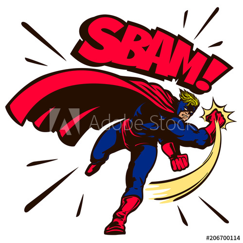 500x500 Pop Art Comic Book Style Superhero Fighting And Throwing Punch