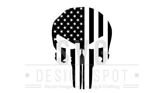 570x321 The Punisher Skull Flag Logo Svg Wall Art Super Hero Marvel
