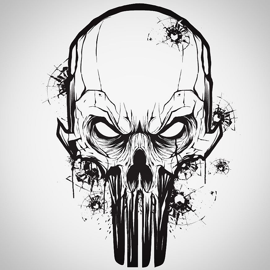 872x872 Little Vector Mouse Click Warm Up With A Punisher Skull