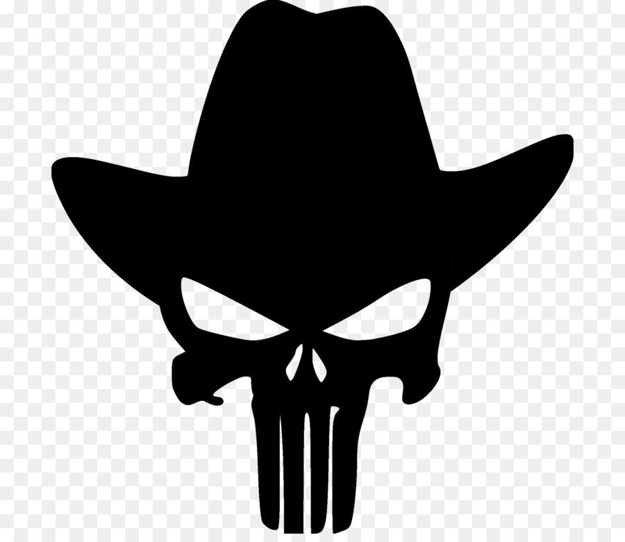 900x780 Punisher Human Skull Symbolism Cowboy Decal