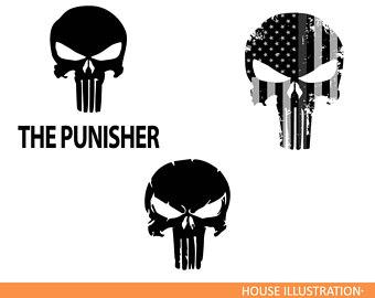 340x270 Punisher Skull Flag Vector