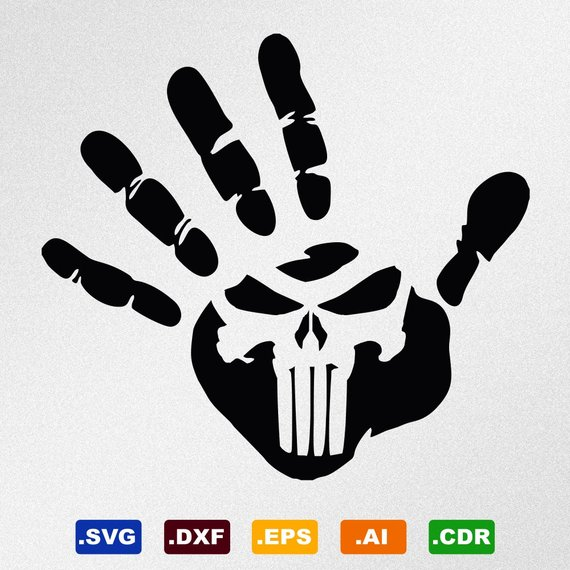 570x570 Hand Print Punisher Skull Svg Dxf Eps Ai Cdr Vector Files Etsy