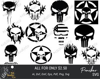 340x270 Punisher Skull Svg Etsy