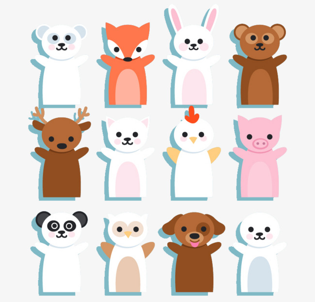 650x623 12 Cute Animal Hand Puppet Vector Material, Animal Vector, Hand