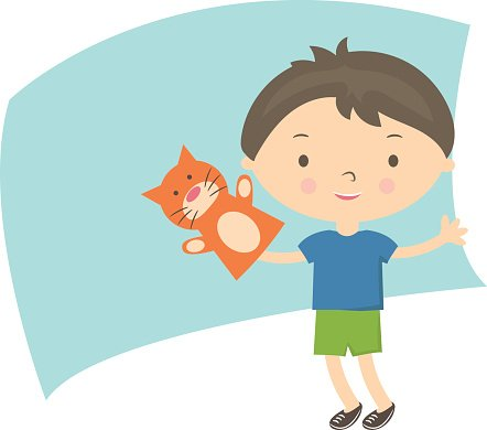 442x390 Illustration Small Boy With Hand Puppet Vector Stock Vectors