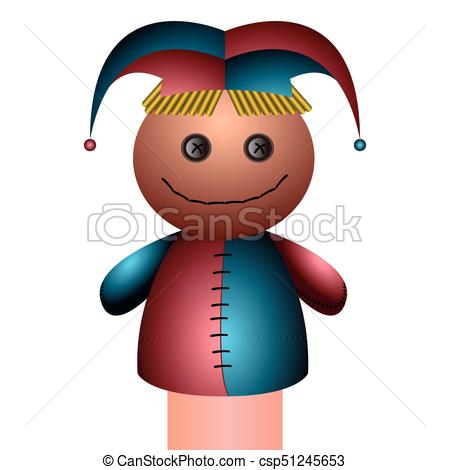 450x470 Isolated Clown Puppet On A White Background, Vector Illustration.