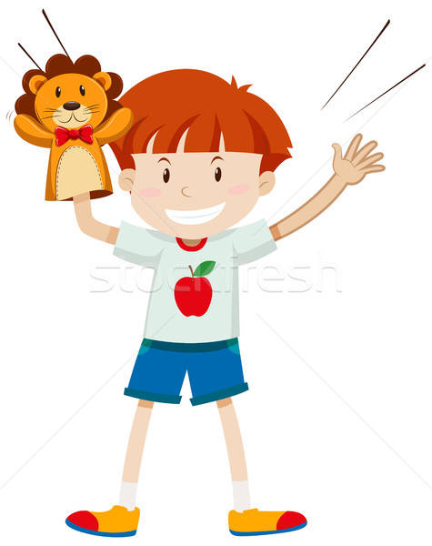 475x600 Boy Playing With Lion Puppet Vector Illustration Daniel Cole