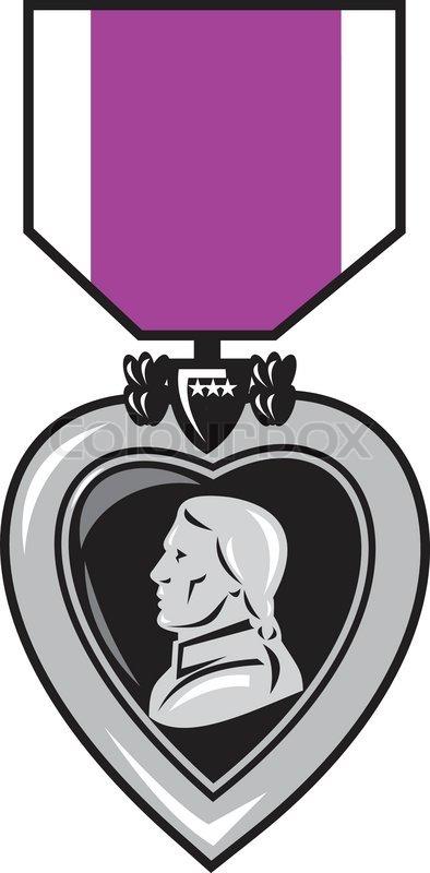 394x800 Military Medal Of Bravery Valor Purple Heart Stock Vector