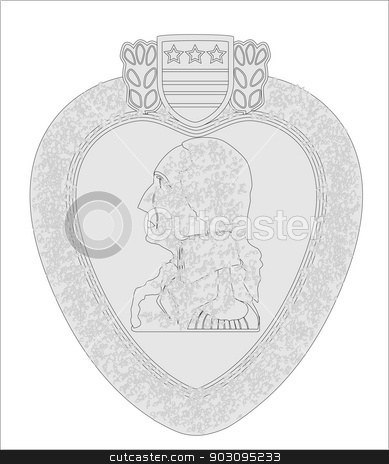 389x464 Purple Heart Medal Outline Stock Vector