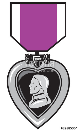 300x500 Purple Heart Military Medal Of Bravery Valor Stock Image And