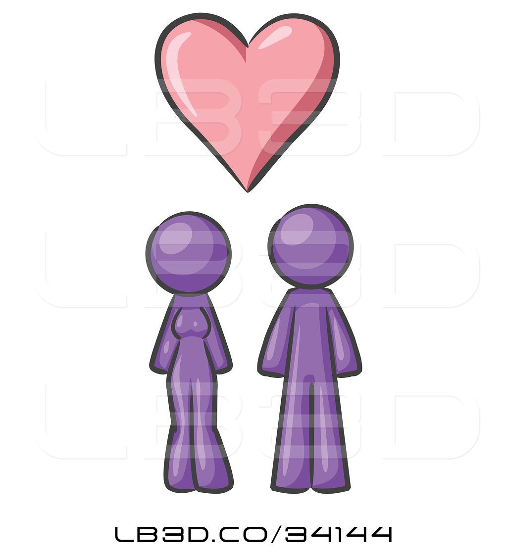 1024x1124 Vector Illustration Of Purple Design Mascot Couple Under A Purple