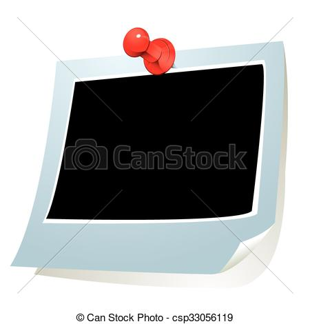 450x470 Photo Frame With Push Pin. Vector Illustration Of Photo Paper With