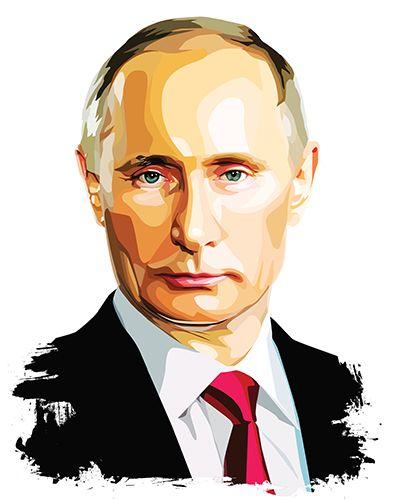 393x500 Putin Vector Portrait, Made In Illustrator Portrait Vector