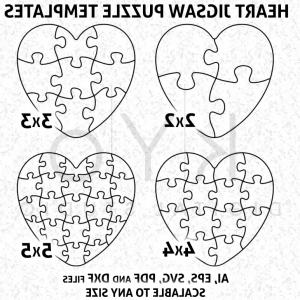 300x300 Heart Shape Jigsaw Puzzle Template Ai Eps Svg Dxf Files Puzzle