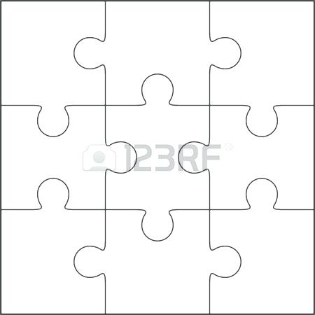 450x450 Jigsaw Puzzle Vector Blank Simple Template Pattern Photo Stock 9