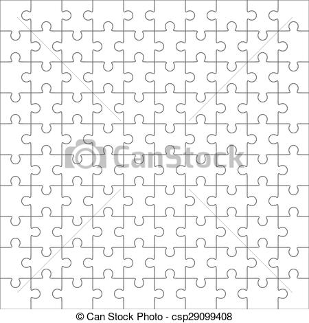 450x470 Jigsaw Puzzle, One Hundred Blank Shapes. Jigsaw Puzzle Vector