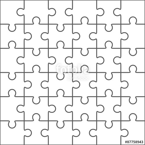 500x500 Jigsaw Puzzle Blank Template, 36 Pieces Stock Image And Royalty