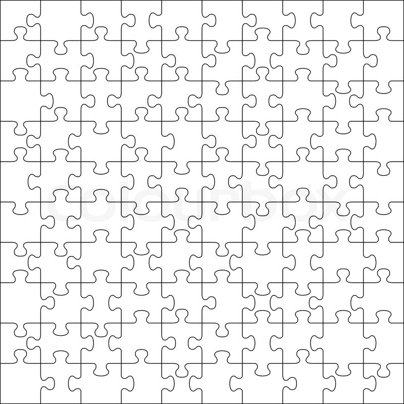800x800 Jigsaw Puzzle With 100 Pieces Stock Vector Colourbox