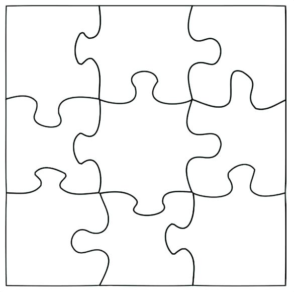 585x580 Puzzle Template 9 Pieces 8 Piece Blank Simple Crossword Jigsaw