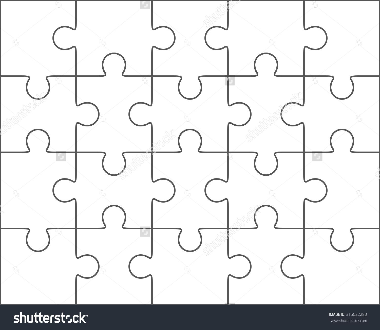 1500x1300 20 Piece Jigsaw Puzzle Template