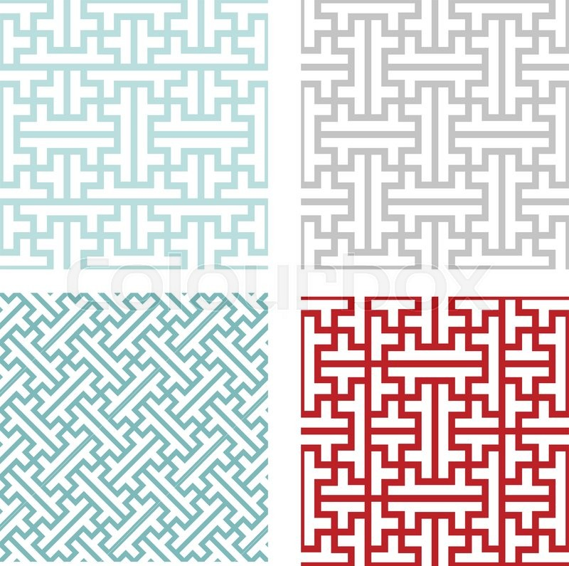 800x795 Seamless Vintage Geometric Puzzle Pattern, Vector Stock Vector