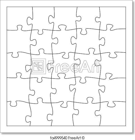 561x581 Free Art Print Of 5x5 Jigsaw Puzzle Template