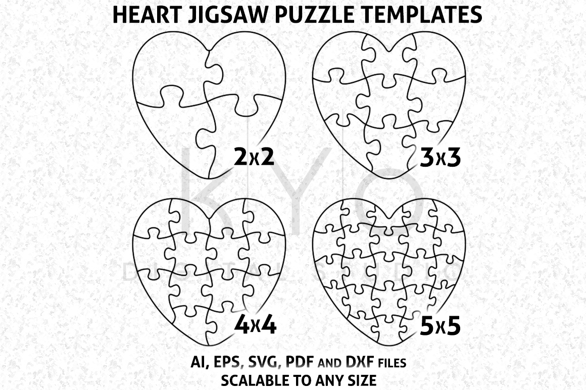 1160x772 Heart Shape Jigsaw Puzzle Template Ai Eps Svg Dxf Files, Puzzle