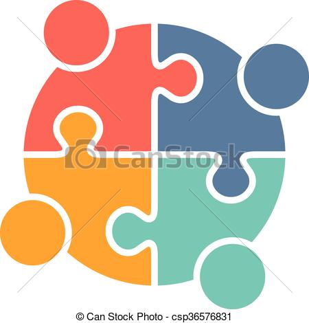 450x470 People Family Logo. Teamwork People Puzzle Pieces. Vector Graphic