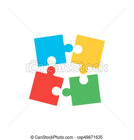 450x470 Colorful Jigsaw Puzzle Pieces. Colorful Jigsaw Puzzle Vector, Four
