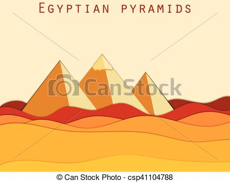 450x357 Landscape With The Egyptian Pyramids. Paper Desert. Vector