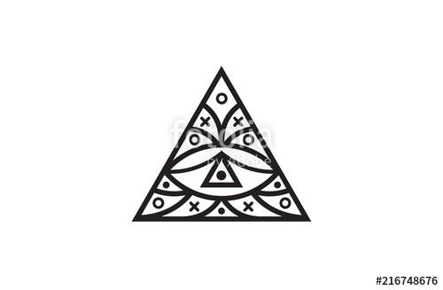 500x327 Triangle Eye. Illuminati Symbol, Eye In A Pyramid. Vector