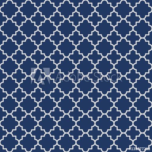 500x500 Traditional Quatrefoil Lattice Pattern Outline. Navy Blue
