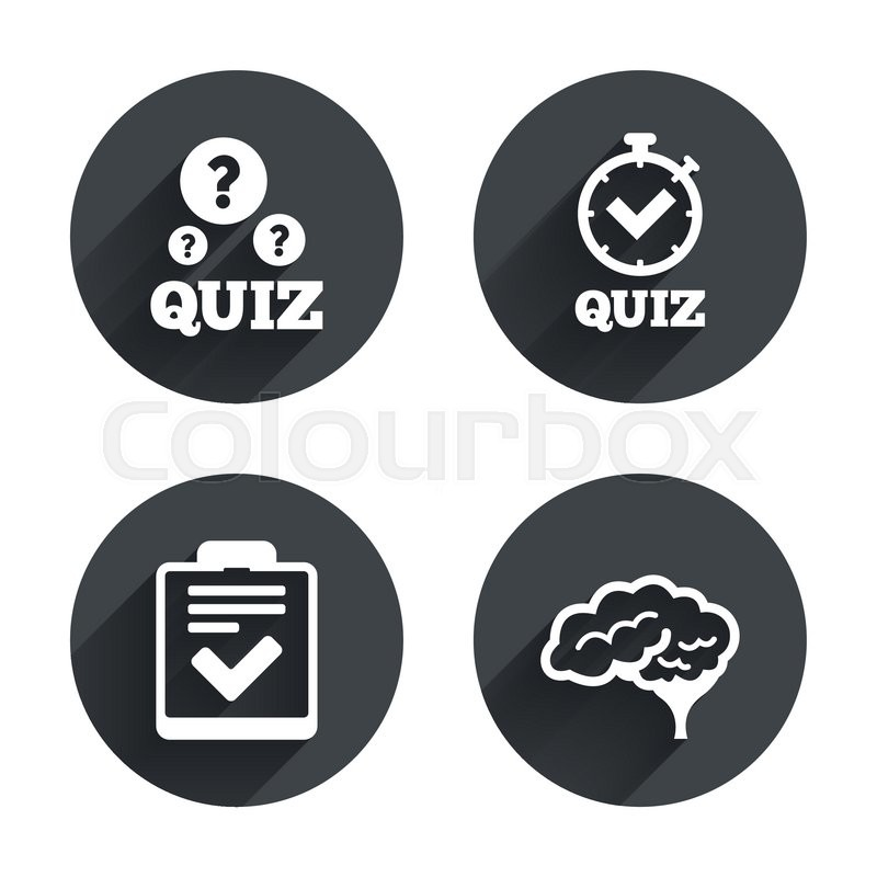 800x800 Quiz Icons. Human Brain Think. Checklist And Stopwatch Timer