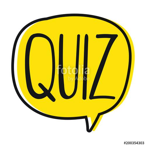 500x500 Quiz. Vector Hand Drawn Speech Bubble, Lettering Illustration On
