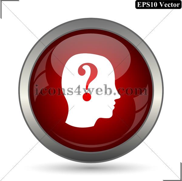 600x597 Human Head With Question Mark Vector Icon. Quiz Vector Button. Eps10