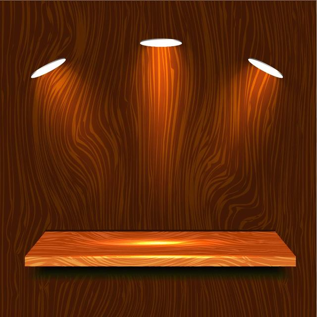 640x640 Realistic Wooden Shelf With Lights