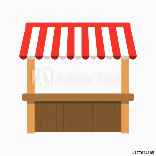 500x500 Street Stall With Awning. Kiosk With Wooden Rack. Vector