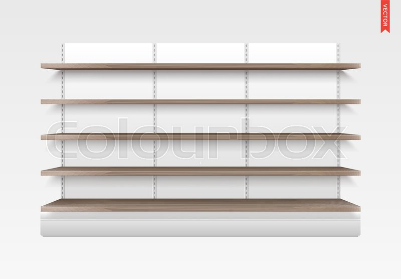 800x556 Empty Vector Store Shelves. Wood Material. Showcase Display